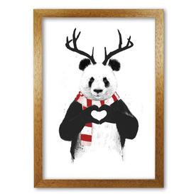 image-'Christmas Panda' by Mercedes Lopes Charro - Graphic Art Print on Paper East Urban Home Frame Options: Honey Oak, Size: 42 cm H x 29.7 cm W x 5 cm D