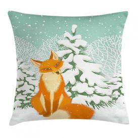 image-Tazmin Fox Red Fox Winter Forest Xmas Cushion Cover Ebern Designs Size: 45cm H x 45cm W