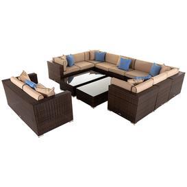 image-12 Piece Rattan Garden Corner Sofa Set in Brown - Geneva - Rattan Direct