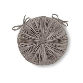 image-French Velvet Silver Round Seat Pad Silver