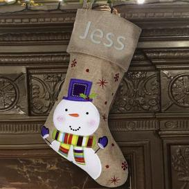 image-Snowman Personalised Christmas Stocking East Urban Home Colour: Glitter Silver
