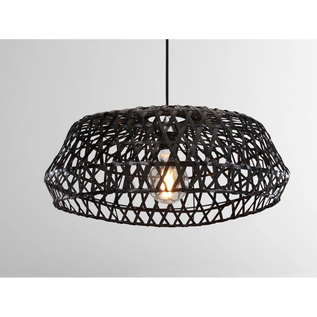image-Jaan Large Rattan Lamp Shade, Black