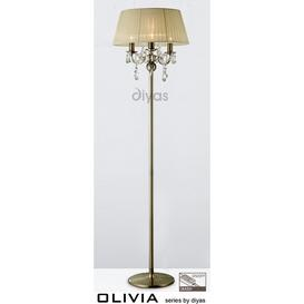 image-IL30066CR Olivia 3 Light Antique Brass Floor Lamp with Ivory Shade