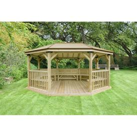 image-5.3m x 3.8m Wooden Gazebo with Timber Roof and Benches Sol 72 Outdoor