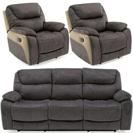 image-Vida Living Santiago Grey Fabric 3+1+1 Seater Recliner Sofa