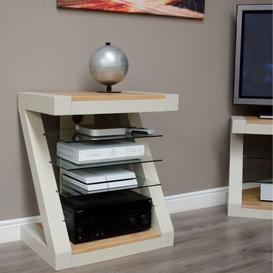 image-Z Solid Oak Grey Painted Furniture Hi Fi Unit