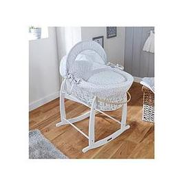 image-Clair De Lune Stars &Amp Stripes Wicker Moses Basket - White Wicker