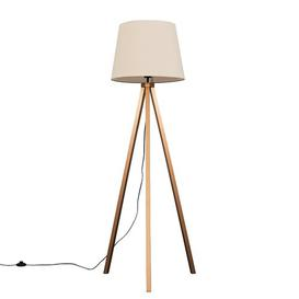 image-Barbro 159cm Tripod Floor Lamp MiniSun Base Finish: Copper, Shade Colour: Beige, Bulb: Yes