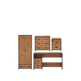 image-Jackson 4 Piece Package - Kids 2 Door, 1 Drawer Wardrobe, 2+2 Drawer Chest, 2 Drawer Bedside Chest And Desk