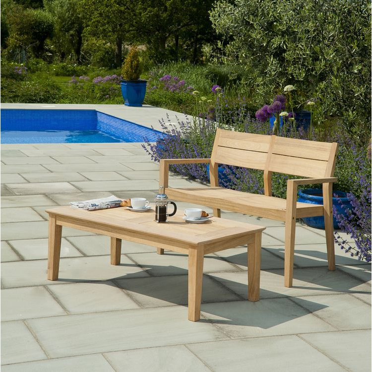 image-Alexander Rose Garden Furniture Roble 4ft Bench & Coffee Table Set