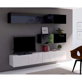 image-Calabrini Set 8 Entertainment Unit - Black Gloss and White Gloss 210cm