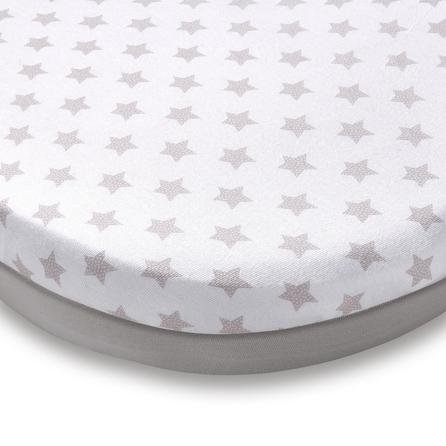 image-Pack of 2 Grey Star Jersey 100% Cotton Moses Basket Fitted Sheets Grey