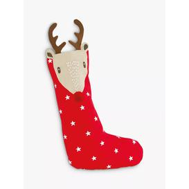image-Great Little Trading Co Jolly Reindeer Christmas Stocking, Red