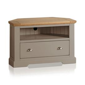 image-Natural Solid Oak & Grey Paint TV Cabinets - Corner TV Unit - St. Ives Range - Oak Furnitureland