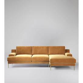 image-Swoon Almera Right Corner Sofa in Biscuit Easy Velvet With Brass Feet