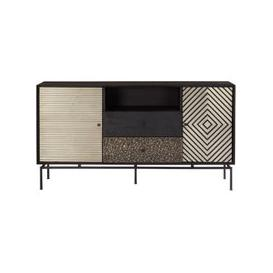 image-Algieba Mango Wood 2 Doors 2 Drawers Sideboard In Black