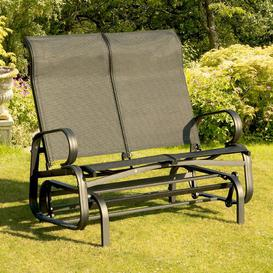 image-Isanti Twin Seat Gliding Bench Sol 72 Outdoor Colour: Black