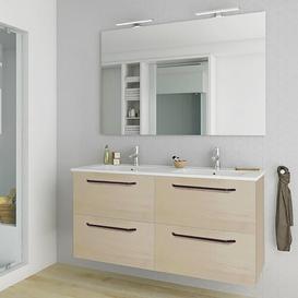 image-Slossberg 1200mm Wall Hung Double Vanity Unit Belfry Bathroom Vanity Base Colour: Light wood