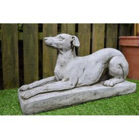 image-Lozano Greyhound on Plinth Stone Garden Statue Happy Larry