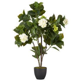 image-Faux Mophead Hydrangea Plant - White/Green