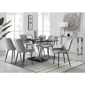 image-Florini V Black Dining Table and 6 Grey Pesaro Black Leg Chairs