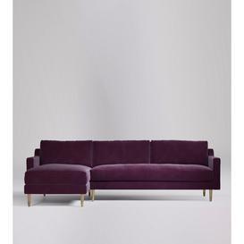 image-Swoon Rieti Left Corner Sofa in Aubergine Easy Velvet With Light Feet