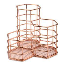 image-Rose Gold Hexagonal Desk Tidy - M&w