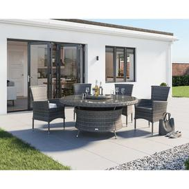 image-4 Rattan Garden Chairs &amp Large Round Dining Table Set in Grey - Cambridge