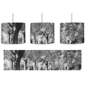 image-Autumn Landscape 1-Light Drum Pendant East Urban Home Shade Colour: Black/White