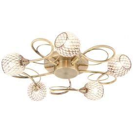 image-Gallery Direct Aherne 5 Antique Brass Ceiling Light