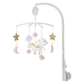image-Pink, Gold and White Cotton Musical Mobile for Babies