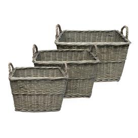 image-Set of 3 Grey Willow Tapered Baskets Grey