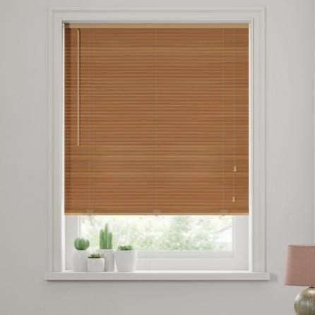 image-Oak Wooden Venetian Blind 27mm Slats Oak (Brown)