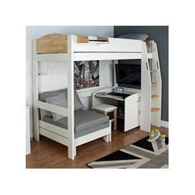 image-Urban Birch High Sleeper 1 Bed in White & Birch
