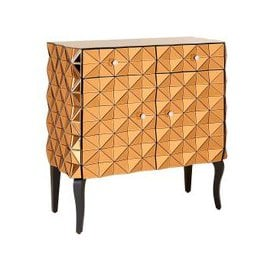 image-Brice Glass Storage Cabinet In Copper With Wooden Legs