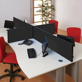 image-Desk Privacy Panel Symple Stuff Size: 40cm H x 100cm W x 3cm D, Colour: Black