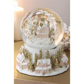 image-White and Gold Village Scene Snow Globe