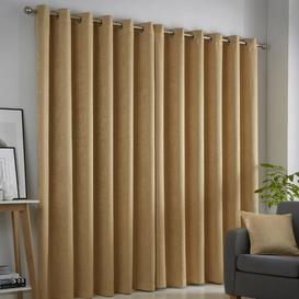 image-Ouida Eyelet Room Darkening Thermal Curtains Brambly Cottage Colour: Ochre Yellow, Panel Size: Width 168 x Drop 183cm