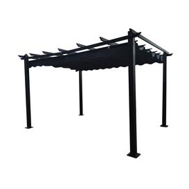 image-Signature Weave Garden Furniture Pergola Retractable Grey Canopy