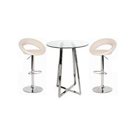 image-Poseur Bar Table In Clear Glass With 2 Leoni Cream Bar Stools