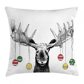 image-Igor Moose Sketchy Noel Ornament Outdoor Cushion Cover Ebern Designs Size: 45cm H x 45cm W