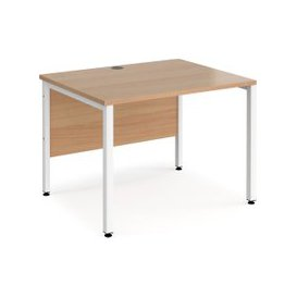 image-Value Line Deluxe Bench Rectangular Desks (White Legs), 80wx80dx73h (cm), Beech, Free Next Day Delivery