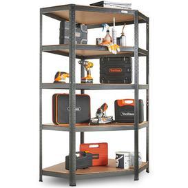 image-Akie 5 Tier Garage Shelving Corner Unit ? Metal Racking, Steel & MDF Boltless Shelves - 875kg Capacity 175KG Per Shelf in a Hammered Grey Finish Sympl