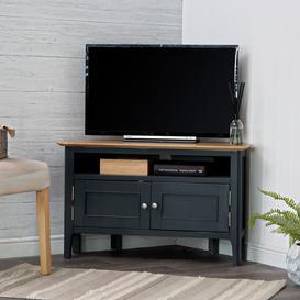image-Bergen Blue Painted Oak Corner TV Unit