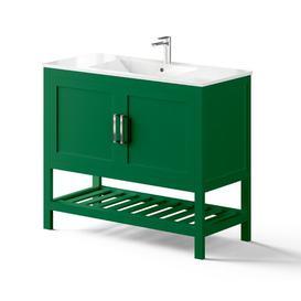 image-Northlake 1000mm Free-standing Single Vanity Unit Ebern Designs Vanity Unit Colour: Jade Green