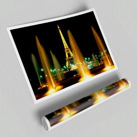image-'Paris Eiffel Tower Water Fountain Glow' - Unframed Photograph Print on Paper East Urban Home