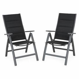 image-Trikomo Folding Garden Chair Dakota Fields Colour (Fabric): Black