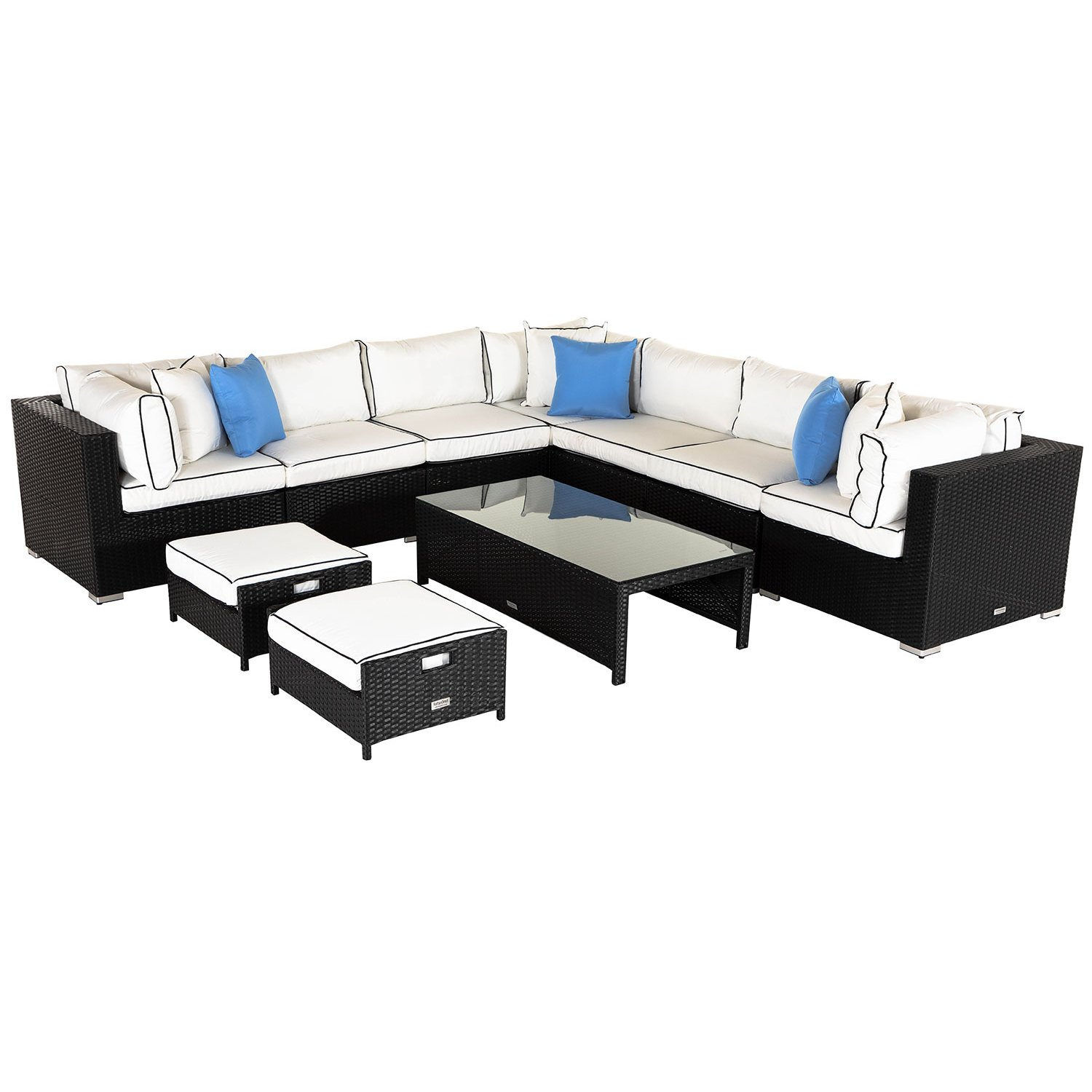 image-Geneva 6: Rattan Garden Corner Sofa Set in Black and Vanilla