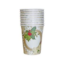 image-Christmas Paper Cup 10 Pack - Holly Wreath
