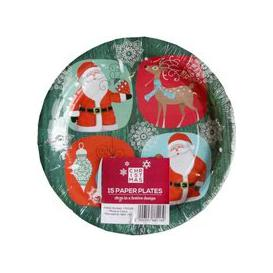 image-Small Christmas Paper Plates 15 Pack - Santa And Rudolph Design
